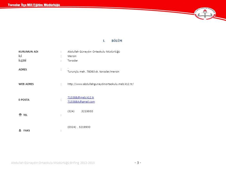 Abdullah Günaydın Ortaokulu Müdürlüğü Brifing 2012-2013 - 3 -