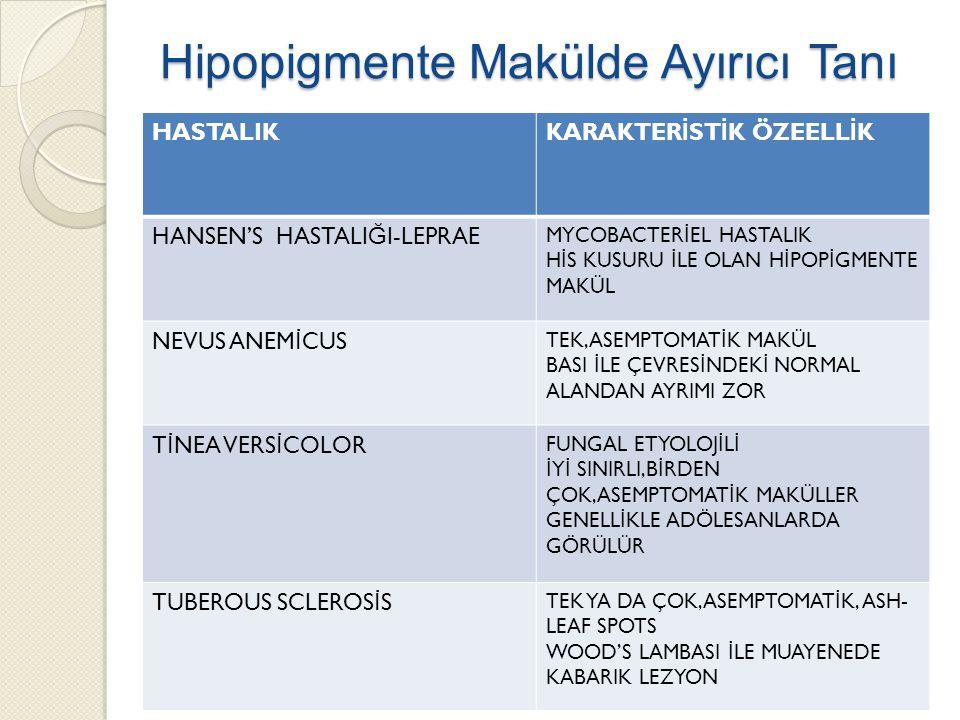 Hipopigmente Makülde Ayırıcı Tanı