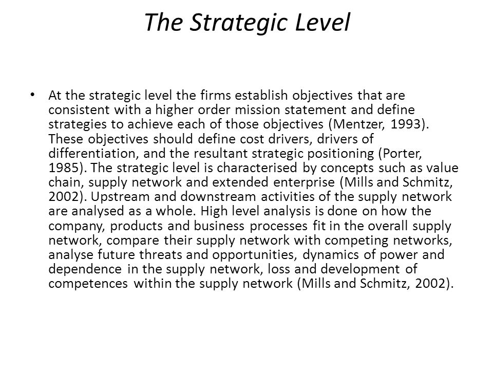 The Strategic Level