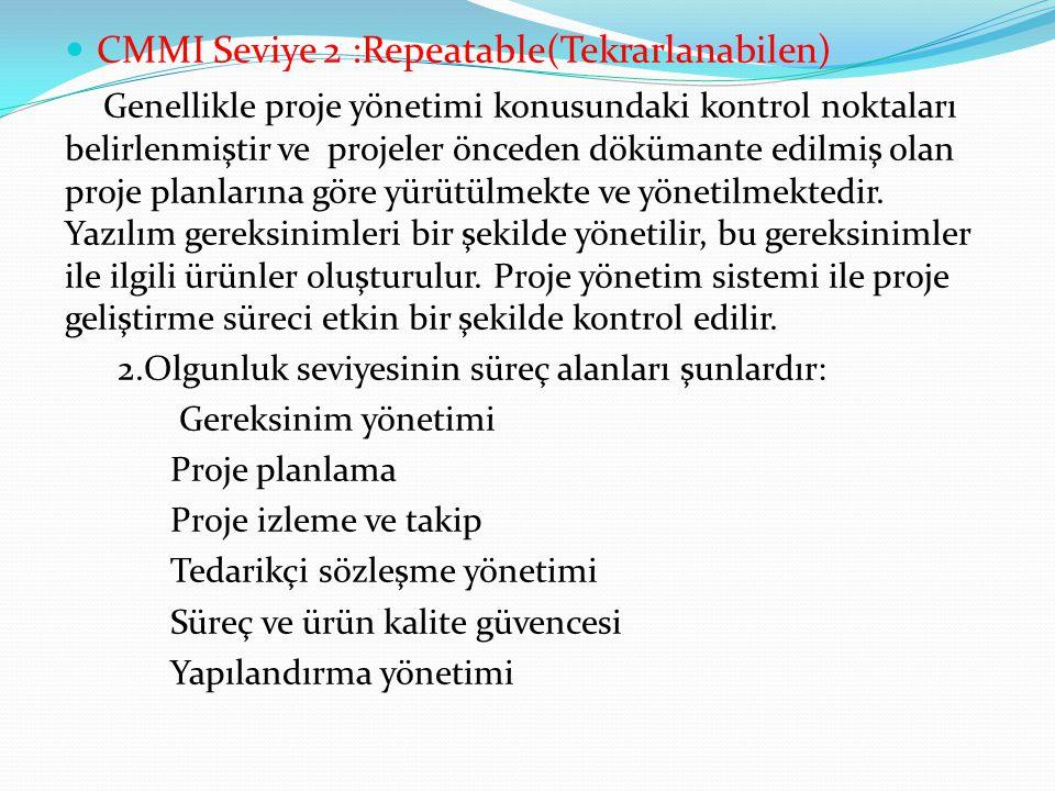 CMMI Seviye 2 :Repeatable(Tekrarlanabilen)