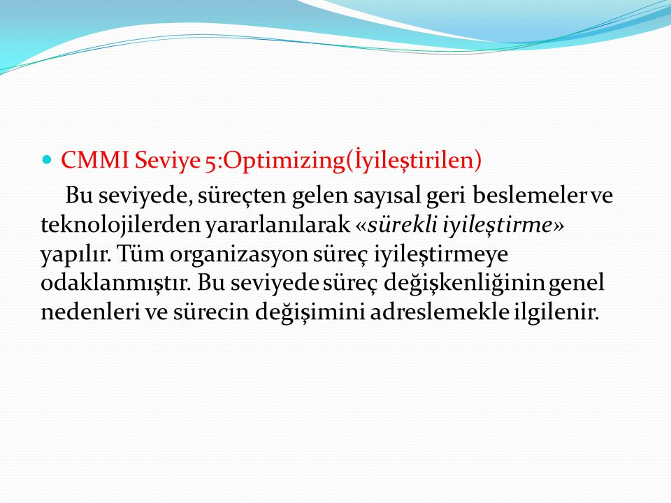 CMMI Seviye 5:Optimizing(İyileştirilen)