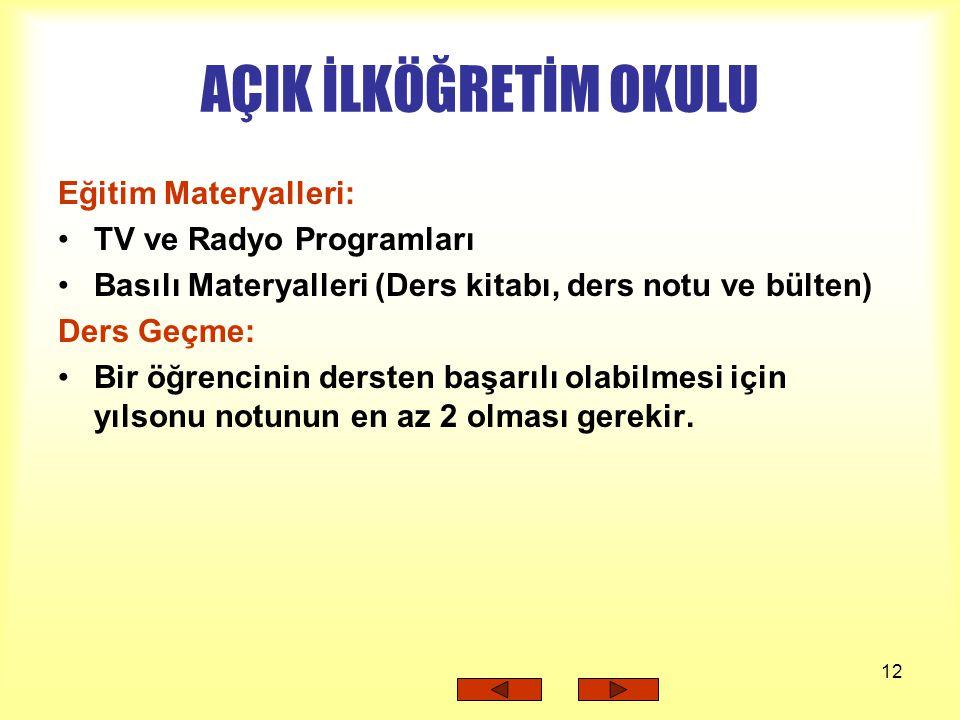 AÇIK İLKÖĞRETİM OKULU Eğitim Materyalleri: TV ve Radyo Programları