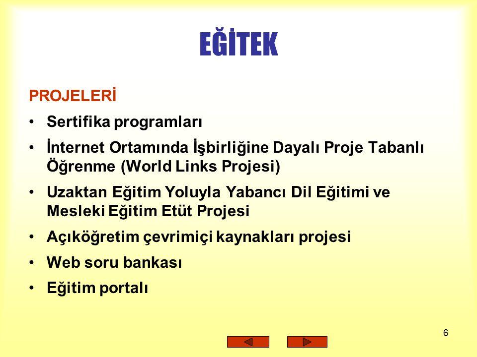EĞİTEK PROJELERİ Sertifika programları