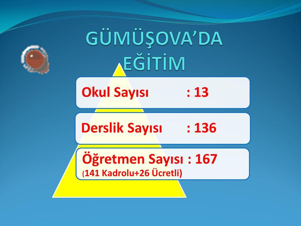 GÜMÜŞOVA'DA EĞİTİM Öğretmen Sayısı : 167 (141 Kadrolu+26 Ücretli)
