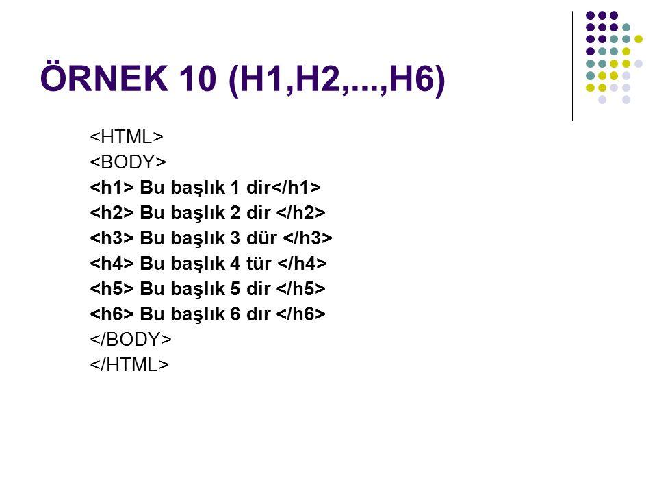 ÖRNEK 10 (H1,H2,...,H6) <HTML> <BODY>