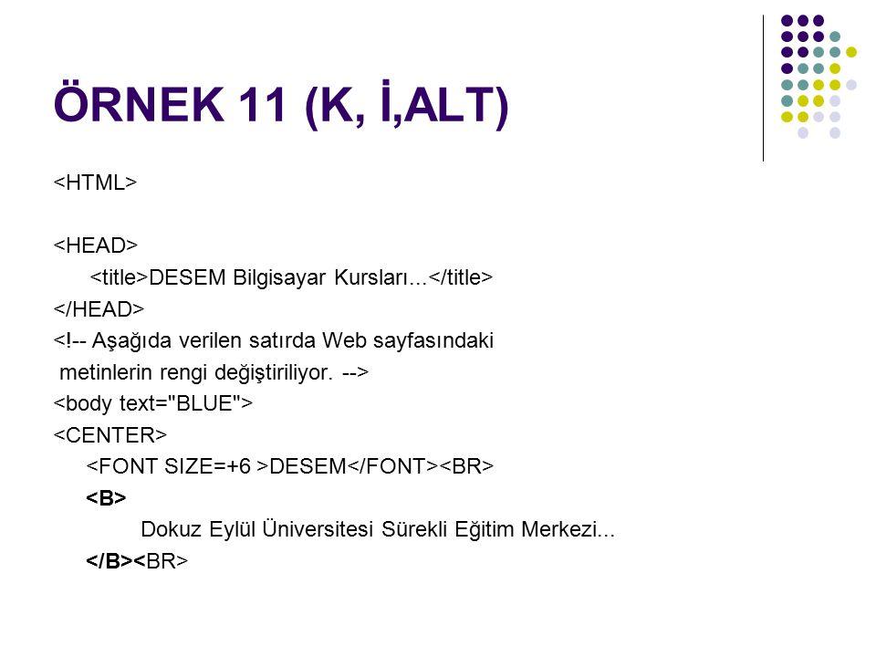 ÖRNEK 11 (K, İ,ALT) <HTML> <HEAD>