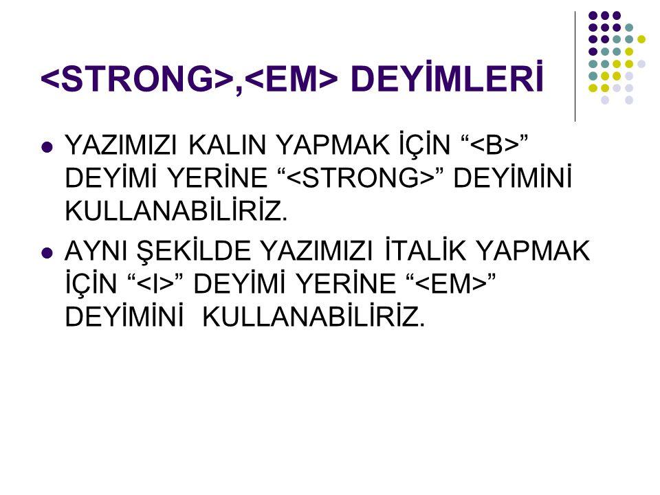 <STRONG>,<EM> DEYİMLERİ