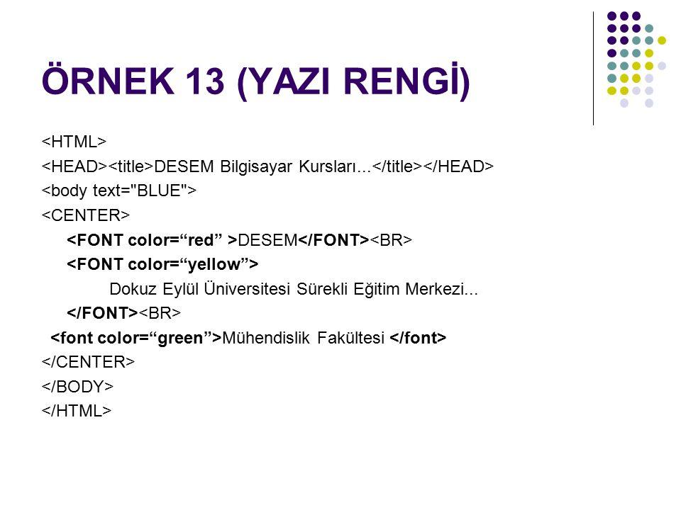 ÖRNEK 13 (YAZI RENGİ) <HTML>
