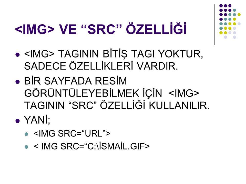 <IMG> VE SRC ÖZELLİĞİ