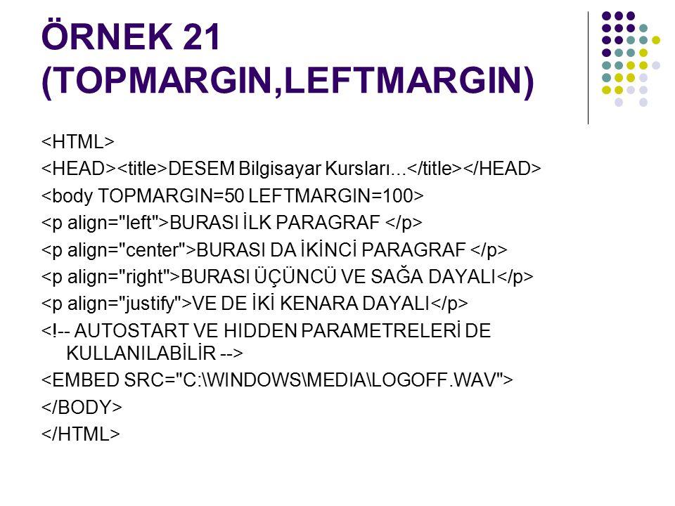 ÖRNEK 21 (TOPMARGIN,LEFTMARGIN)
