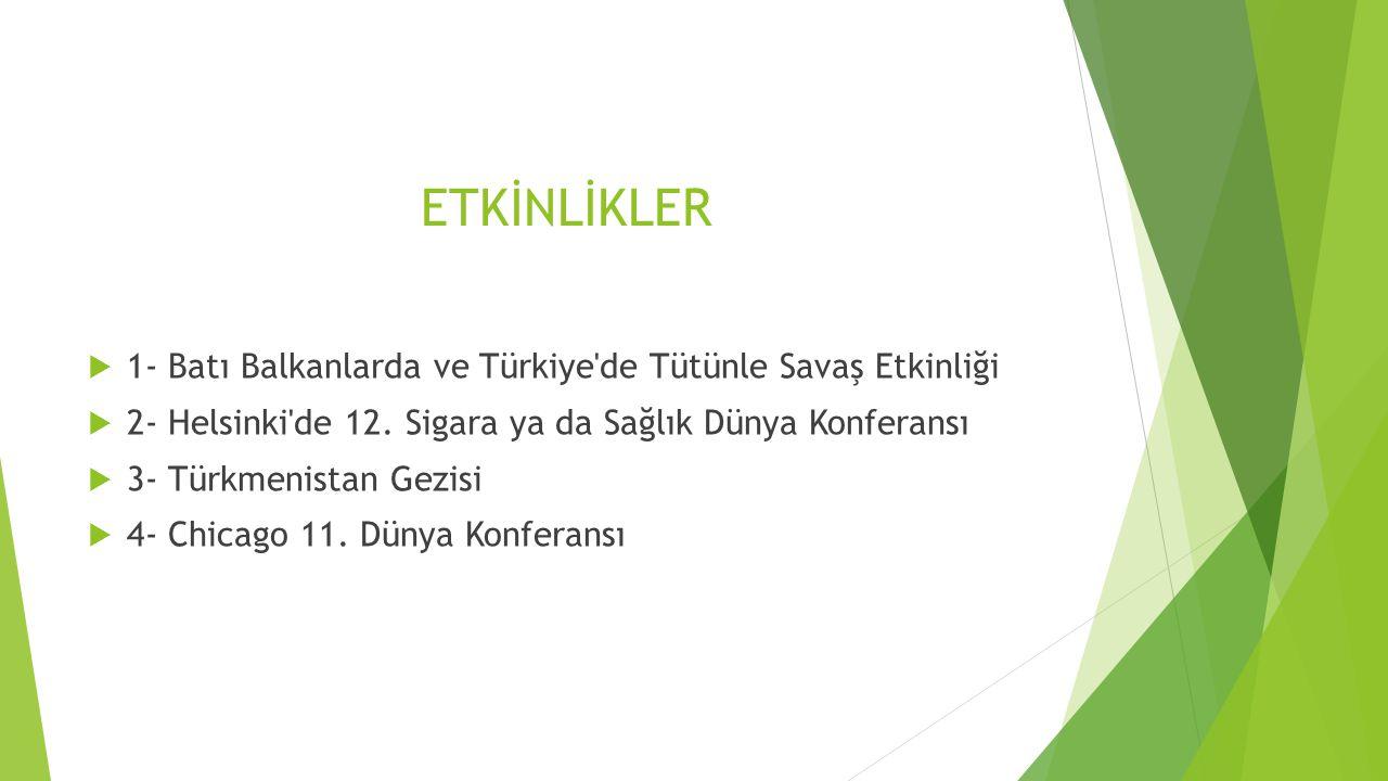 ETKİNLİKLER 1- Batı Balkanlarda ve Türkiye de Tütünle Savaş Etkinliği