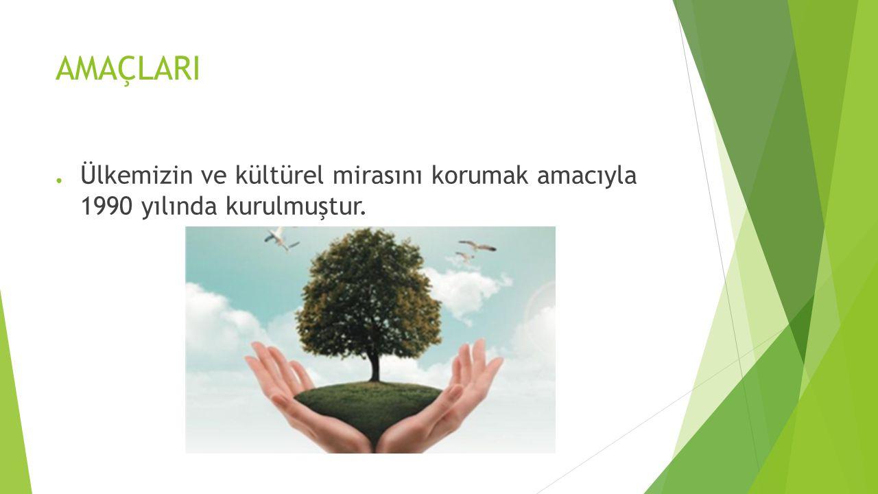 AMAÇLARI Ülkemizin ve kültürel mirasını korumak amacıyla 1990 yılında kurulmuştur.