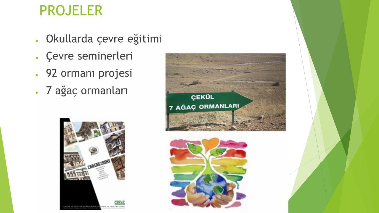 PROJELER Okullarda çevre eğitimi Çevre seminerleri 92 ormanı projesi