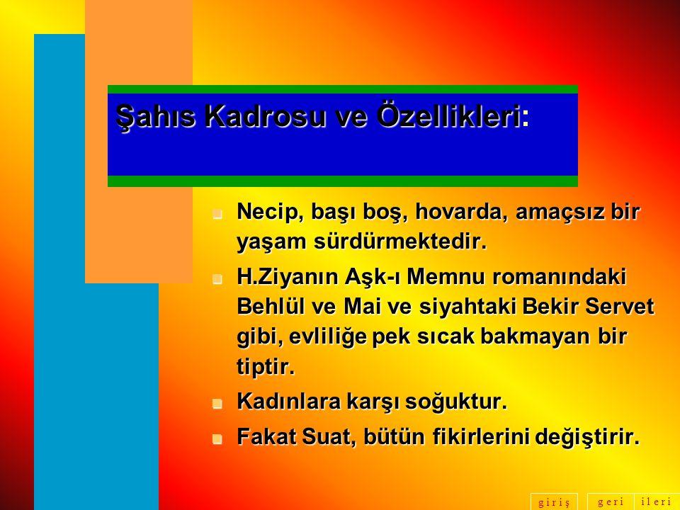 Şahıs Kadrosu ve Özellikleri: