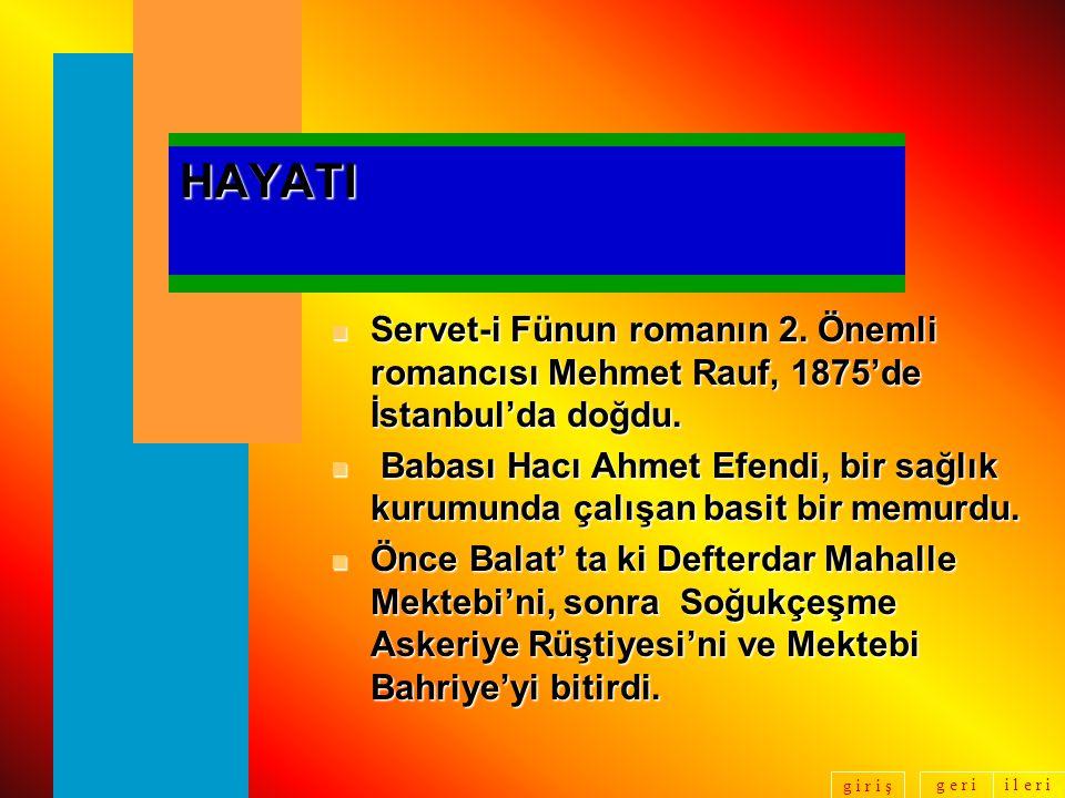 HAYATI Servet-i Fünun romanın 2. Önemli romancısı Mehmet Rauf, 1875'de İstanbul'da doğdu.