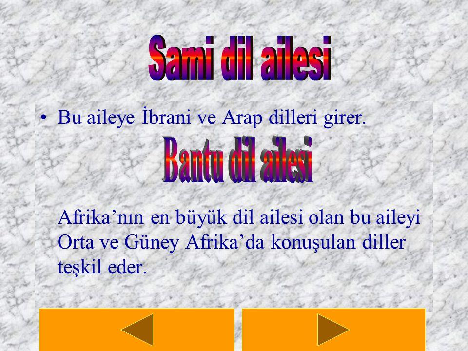 Sami dil ailesi Bantu dil ailesi