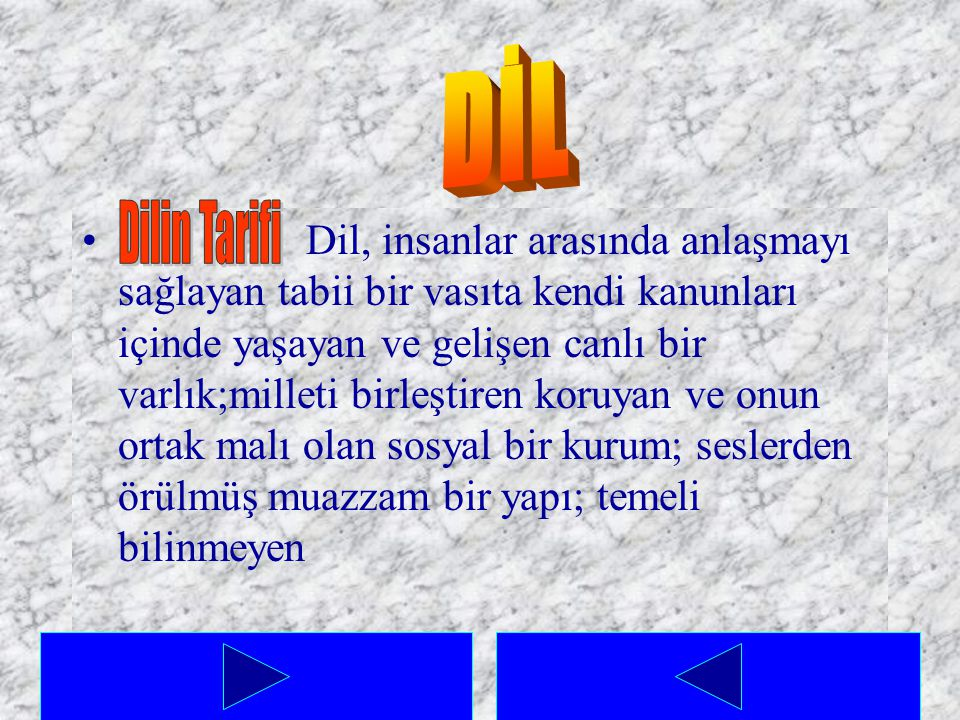 DİL Dilin Tarifi.