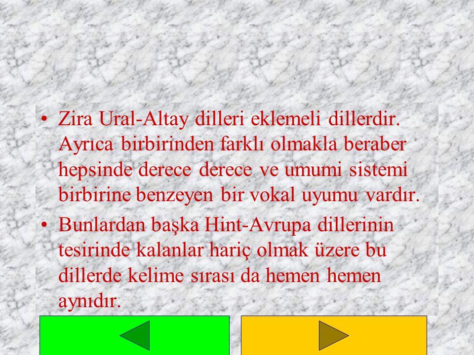 Zira Ural-Altay dilleri eklemeli dillerdir