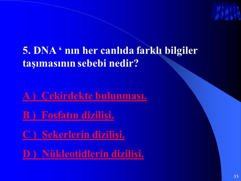 5. DNA ' nın her canlıda farklı bilgiler taşımasının sebebi nedir