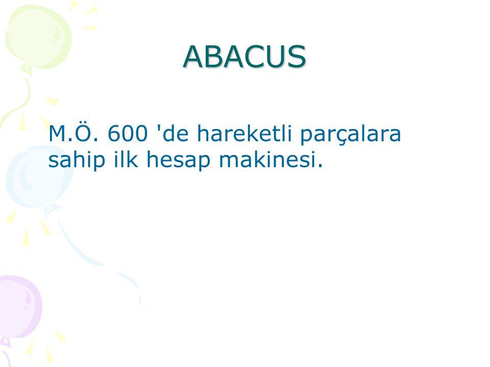 ABACUS M.Ö. 600 de hareketli parçalara sahip ilk hesap makinesi.