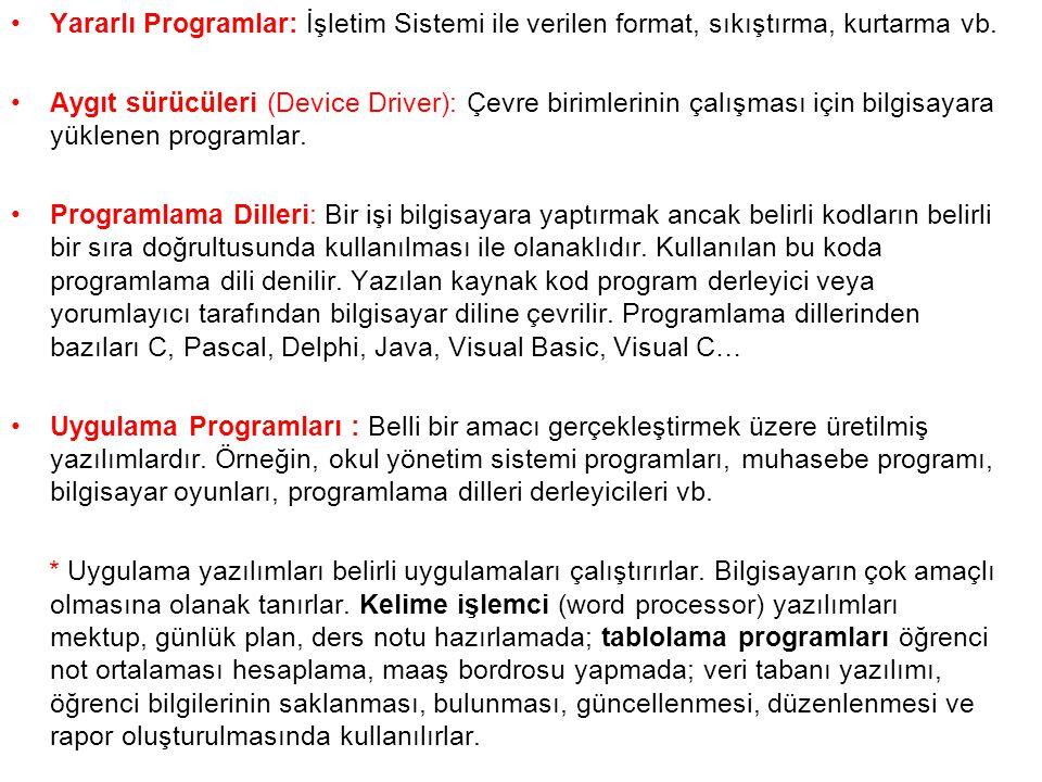 Yararlı Programlar: İşletim Sistemi ile verilen format, sıkıştırma, kurtarma vb.