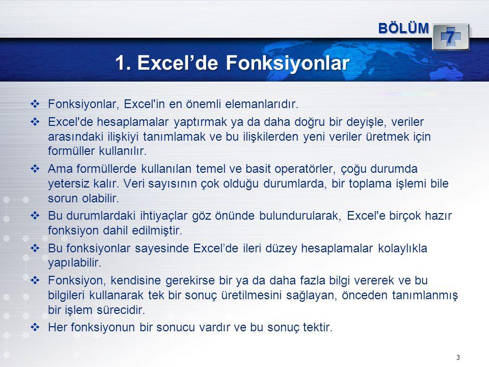 1. Excel'de Fonksiyonlar