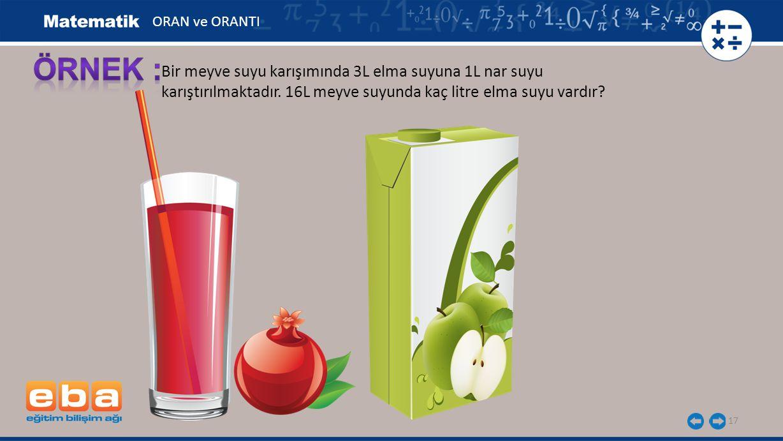 ÖRNEK : Bir meyve suyu karışımında 3L elma suyuna 1L nar suyu