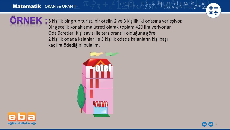 ORAN ve ORANTI ÖRNEK : 5 kişilik bir grup turist, bir otelin 2 ve 3 kişilik iki odasına yerleşiyor.