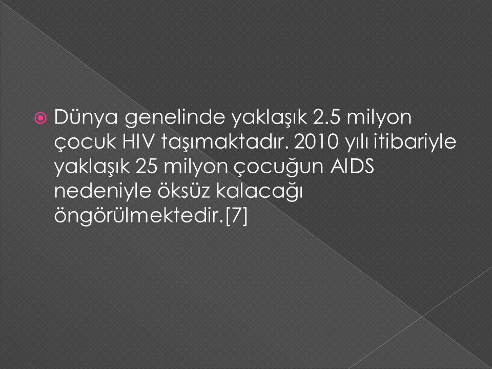 Dünya genelinde yaklaşık 2. 5 milyon çocuk HIV taşımaktadır