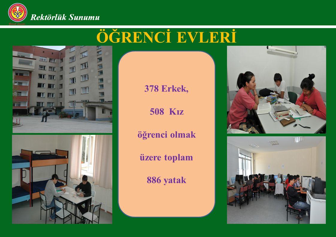 Öğrencİ Evlerİ 378 Erkek, 508 Kız öğrenci olmak üzere toplam 886 yatak