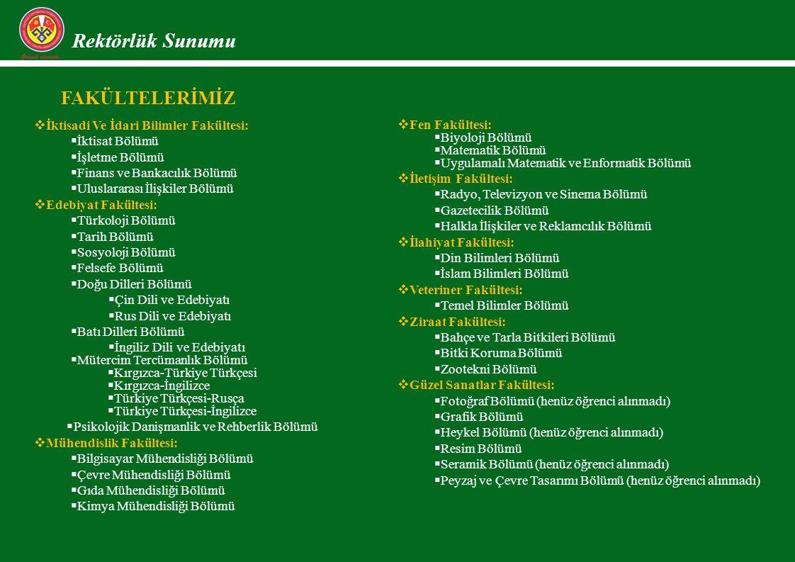 Rektörlük Sunumu FAKÜLTELERİMİZ İktisadi Ve İdari Bilimler Fakültesi: