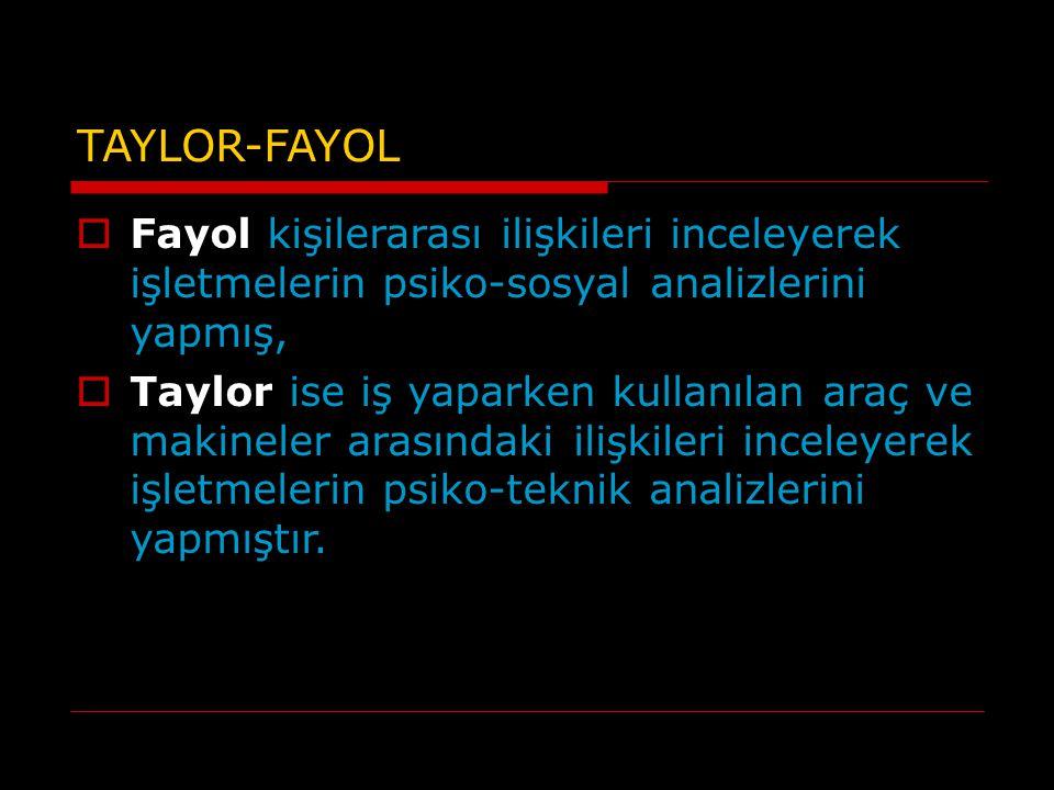 TAYLOR-FAYOL Fayol kişilerarası ilişkileri inceleyerek işletmelerin psiko-sosyal analizlerini yapmış,