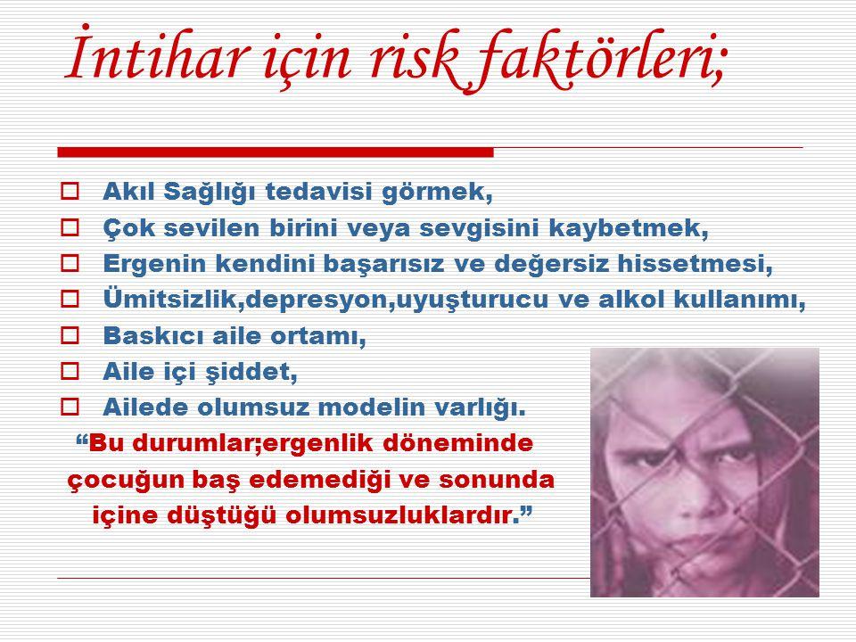 İntihar için risk faktörleri;