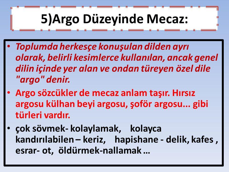 5)Argo Düzeyinde Mecaz: