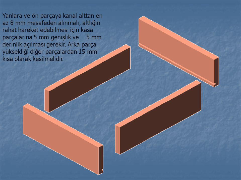 Yanlara ve ön parçaya kanal alttan en az 8 mm mesafeden alınmalı, altlığın rahat hareket edebilmesi için kasa parçalarına 5 mm genişlik ve 5 mm derinlik açılması gerekir.