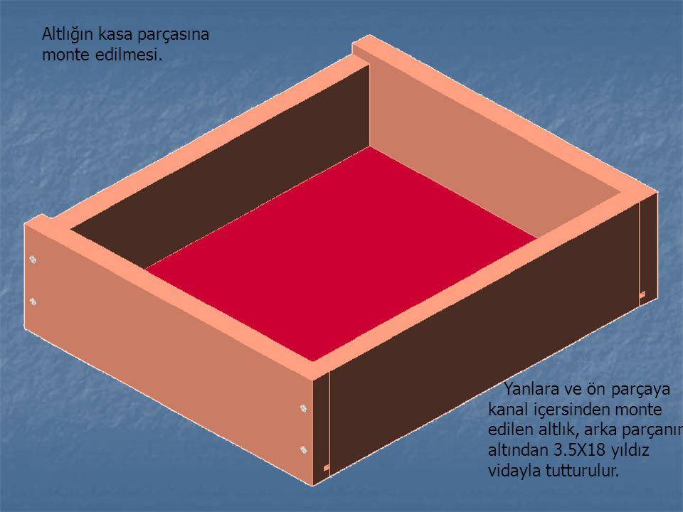 Altlığın kasa parçasına monte edilmesi.
