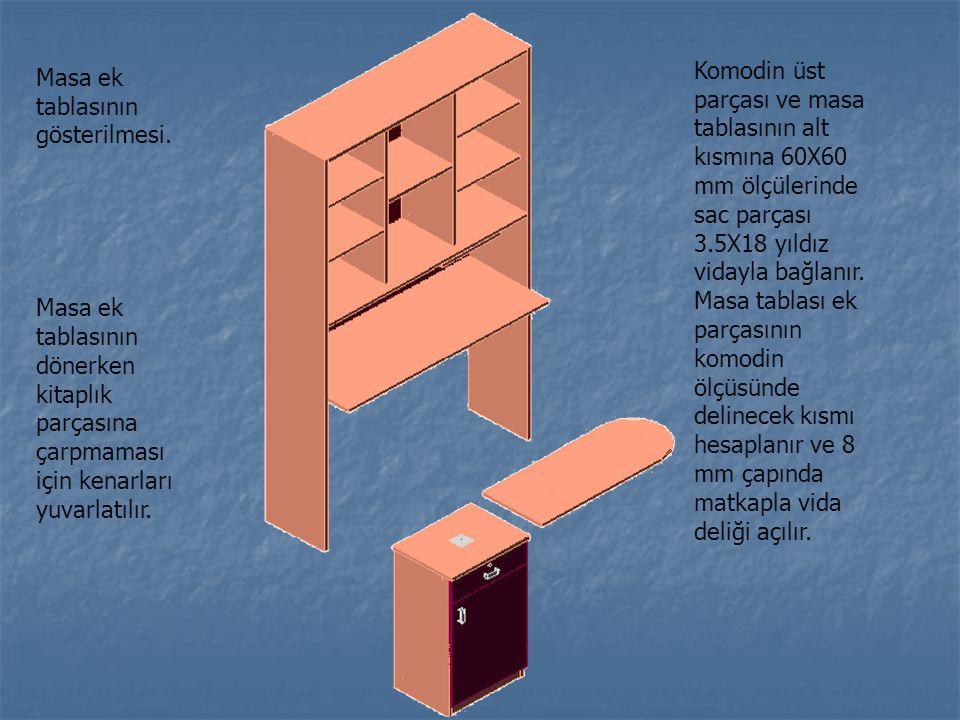 Komodin üst parçası ve masa tablasının alt kısmına 60X60 mm ölçülerinde sac parçası 3.5X18 yıldız vidayla bağlanır. Masa tablası ek parçasının komodin ölçüsünde delinecek kısmı hesaplanır ve 8 mm çapında matkapla vida deliği açılır.