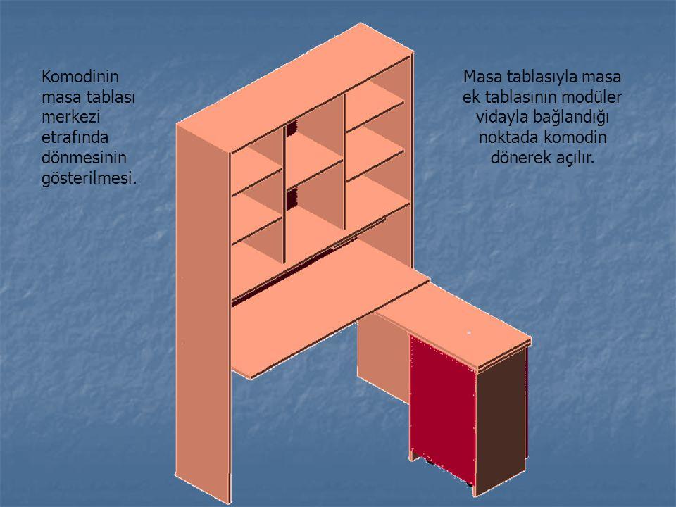 Komodinin masa tablası merkezi etrafında dönmesinin gösterilmesi.