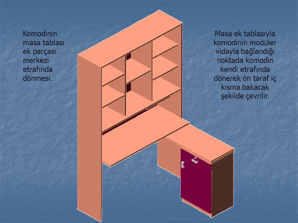 Komodinin masa tablası ek parçası merkezi etrafında dönmesi.