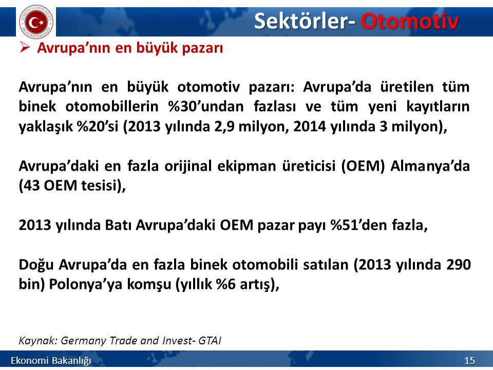 Sektörler- Otomotiv Avrupa'nın en büyük pazarı