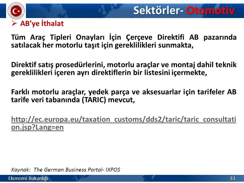 Sektörler- Otomotiv AB'ye İthalat