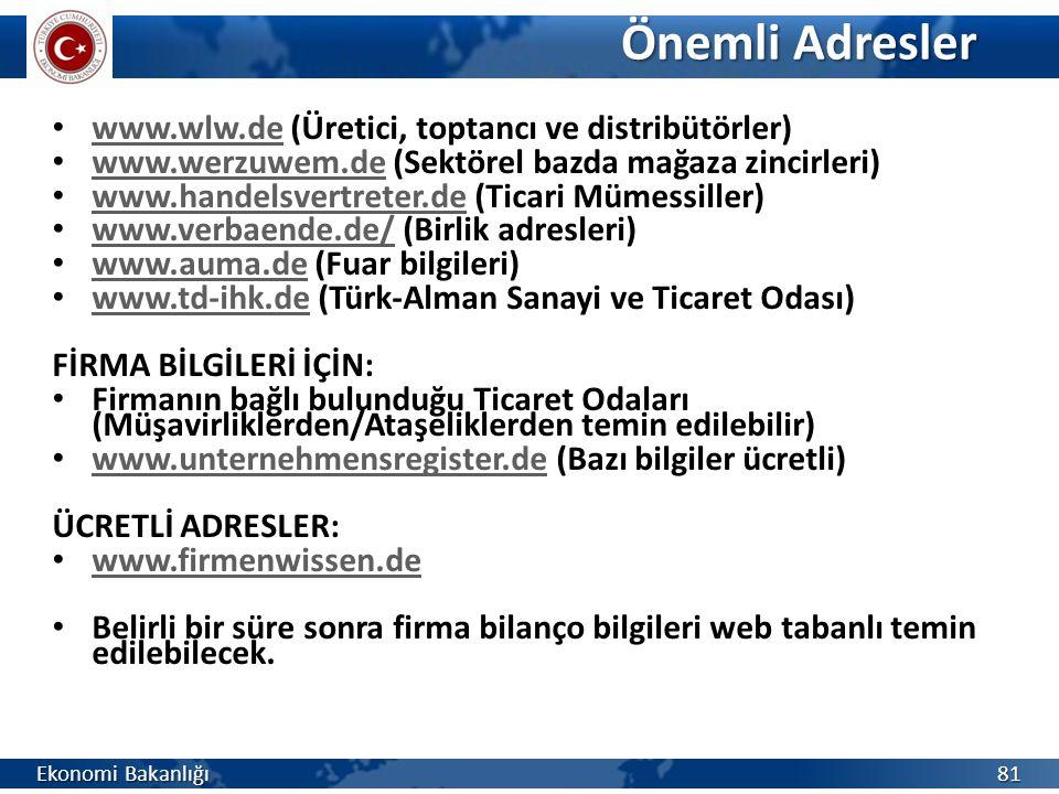 Önemli Adresler www.wlw.de (Üretici, toptancı ve distribütörler)
