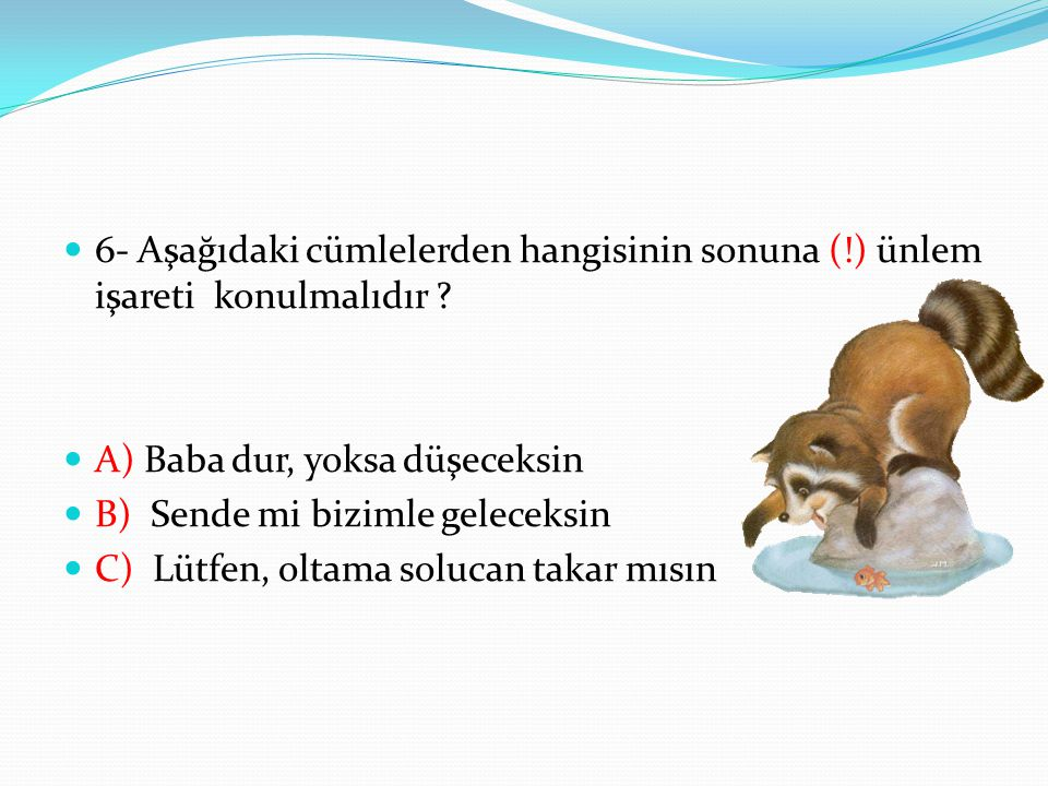 6- Aşağıdaki cümlelerden hangisinin sonuna (