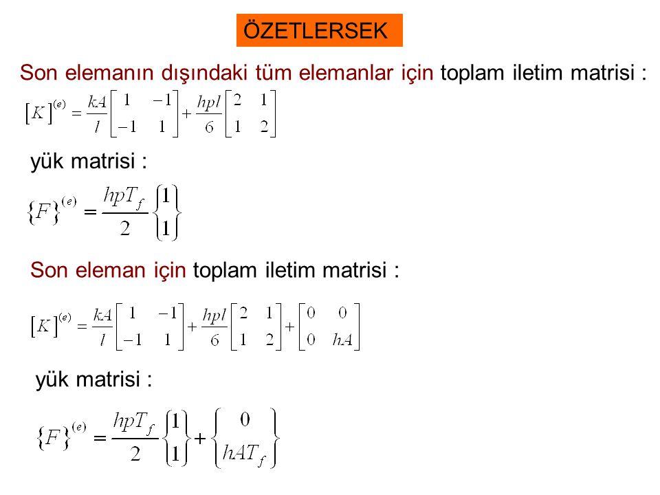 ÖZETLERSEK Son elemanın dışındaki tüm elemanlar için toplam iletim matrisi : yük matrisi : Son eleman için toplam iletim matrisi :