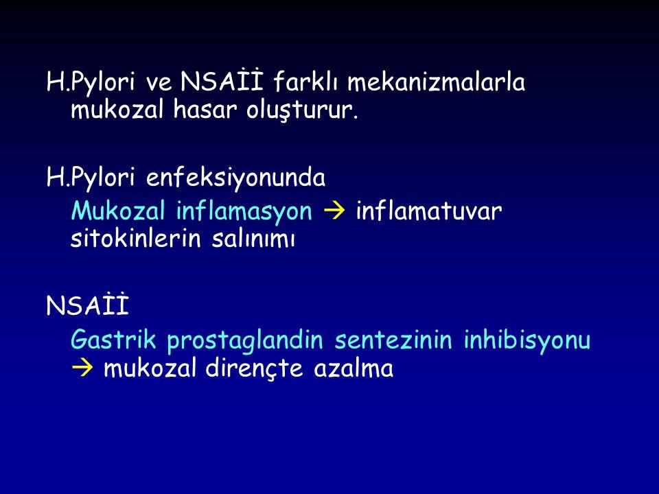 H.Pylori ve NSAİİ farklı mekanizmalarla mukozal hasar oluşturur.