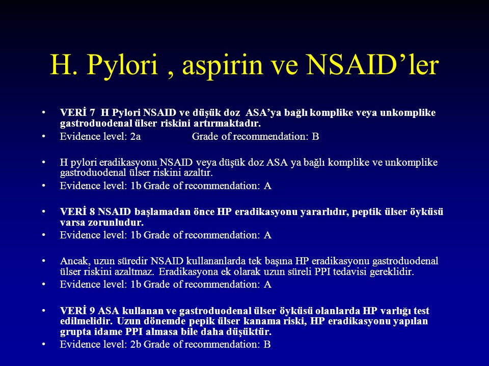 H. Pylori , aspirin ve NSAID'ler