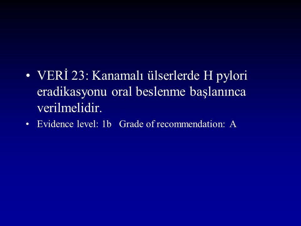 VERİ 23: Kanamalı ülserlerde H pylori eradikasyonu oral beslenme başlanınca verilmelidir.