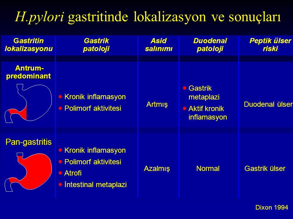 H.pylori gastritinde lokalizasyon ve sonuçları