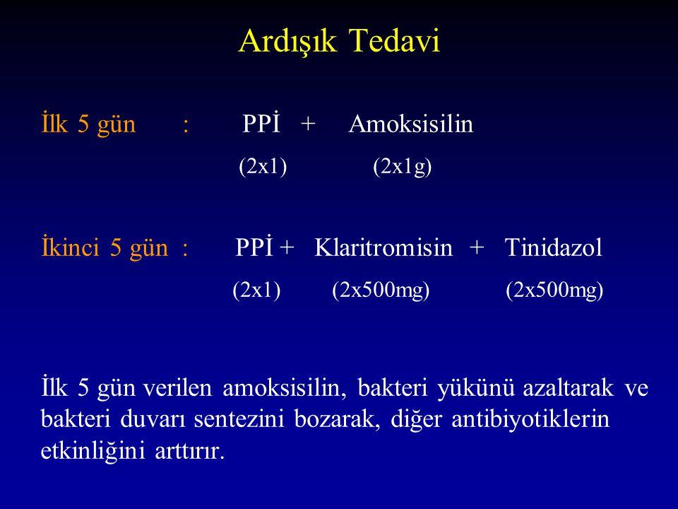 Ardışık Tedavi İlk 5 gün : PPİ + Amoksisilin (2x1) (2x1g)