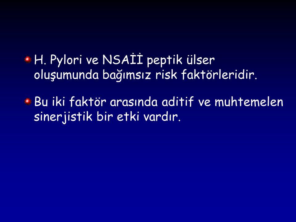 H. Pylori ve NSAİİ peptik ülser oluşumunda bağımsız risk faktörleridir.
